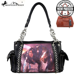 MW170G-8085 Montana West Horse Art Concealed Handgun Handbag-Laurie Prindle Collection