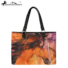 MW226-8112 Montana West Horse Art Canvas Tote Bag-Laurie Prindle Collection