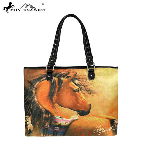 MW228-8112 Montana West Horse Art Canvas Tote Bag-Laurie Prindle Collection