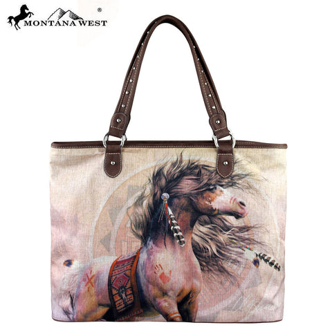 MW229-8112 Montana West Horse Art Canvas Tote Bag-Laurie Prindle Collection
