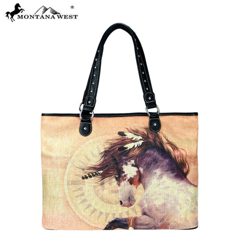 MW230-8112 Montana West Horse Art Canvas Tote Bag-Laurie Prindle Collection