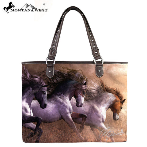 MW231-8112 Montana West Horse Art Canvas Tote Bag-Laurie Prindle Collection