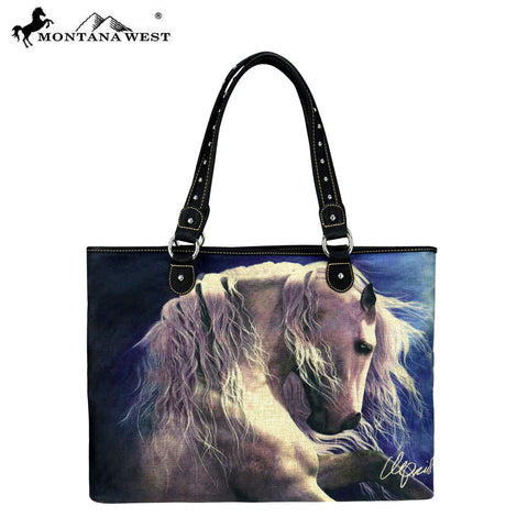 MW232-8112 Montana West Horse Art Canvas Tote Bag-Laurie Prindle Collection