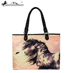 MW233-8112 Montana West Horse Art Canvas Tote Bag-Laurie Prindle Collection
