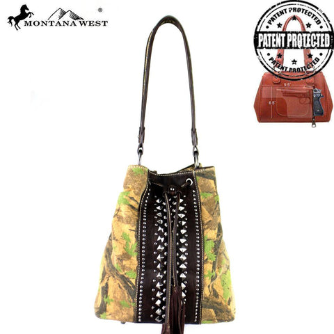 MW361G-8108 Montana West Camo Collection Concealed Handgun Drawstring Bucket Tote