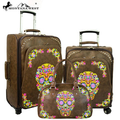 MW326-L1/2/3 Montana West Sugar Skull Collection 3 PC Luggage Set