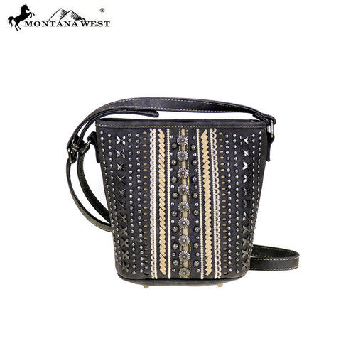 MW346-8287 Montana West Studs Collection Bucket Shaped Crossbody