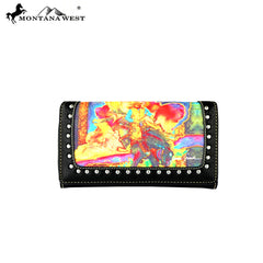 MW392-W010 Montana West Horse Art Collection Secretary Style Wallet-Janene Grende
