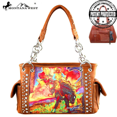 MW392G-8085 Montana West Horse Art Satchel- Janene Grende Collection