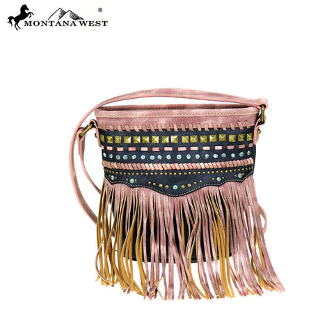 MW396-8296 Montana West Fringe Collection Crossbody Bag