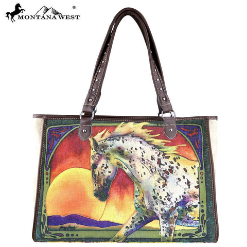 MW404-8112 Montana West Horse Art Canvas Tote Bag-Janene Grende Collection