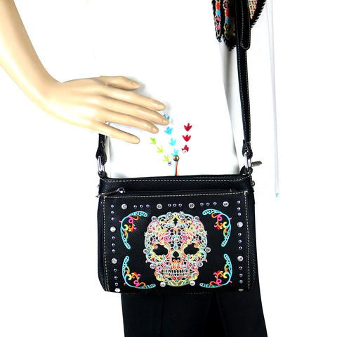 MW494-8362 Montana West Sugar Skull Collection Organizer Crossbody