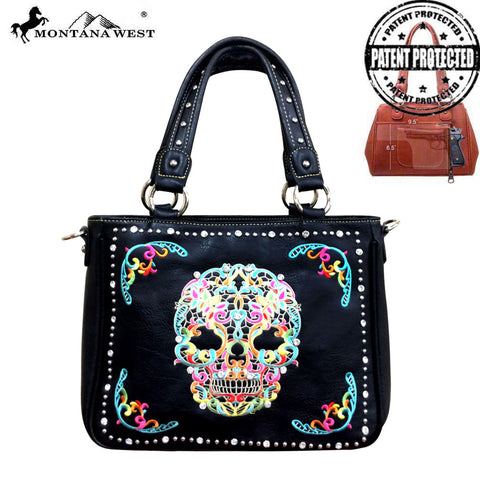 MW494G-8260 Montana West Sugar Skull Collection Concealed Handgun Tote/Crossbody