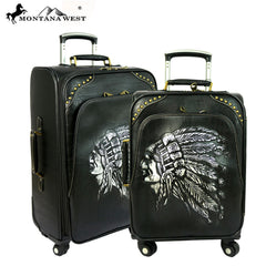 MW510-L1/2 Montana West American Native Collection 2 PC Luggage Set -Black-Silver
