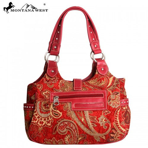 MW58-8110 Montana West Western Buckle Floral Collection Handbag