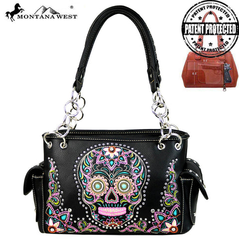 MW585G-8085 Montana West Sugar Skull Collection Concealed Handgun Satchel