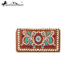 MW594-W010 Montana West Embroidered Collection Secretary Style Wallet