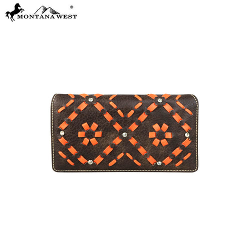 MW597-W010 Montana West Aztec Collection Secretary Style Wallet