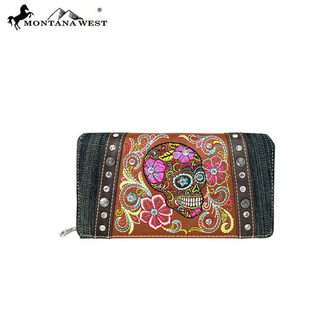 MW601-W010 Montana West Sugar Skull Collection Secretary Style Wallet