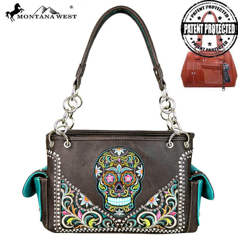 MW602G-8085 Montana West Sugar Skull Collection Concealed Handgun Satchel