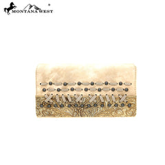 MW612-W010 Montana West Tooled/Embossed Collection Secretary Style Wallet