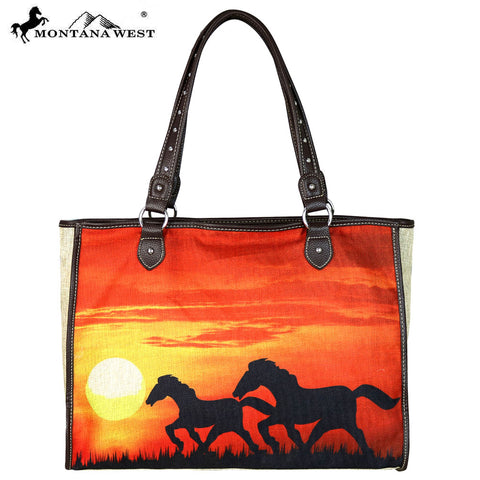 MW625-8112 Montana West Horse Painting Canvas Tote Bag