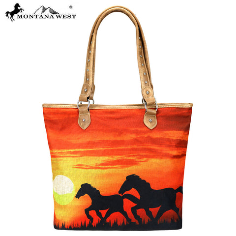 MW625-9318 Montana West Horse Painting Canvas Tote Bag