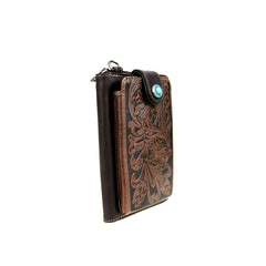 MW629BR Montana West Western Tooled Phone Case Crossbody Wallet -Brown