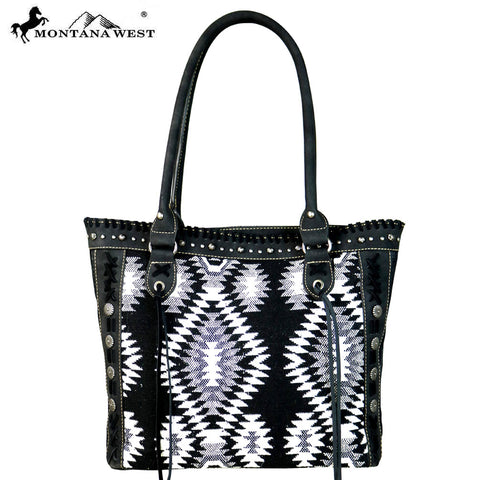 MW641-8317 Montana West Aztec Denim Collection Tote Bag