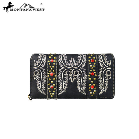 MW643-W010 Montana West Embroidered Collection Secretary Style Wallet