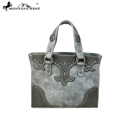 MW644-8380 Montana West Concho Collection Small Tote Bag