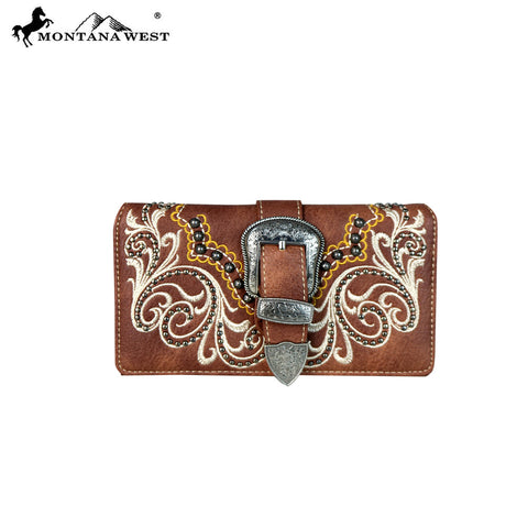 MW657-W010 Montana West Buckle Collection Secretary Style Wallet