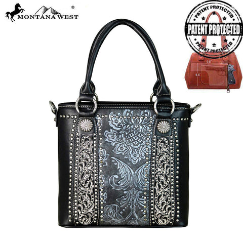 MW660G-8461 Montana West Tooled Collection Concealed Carry Satchel/Crossbody