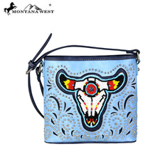 MW665-8360 Montana West Beaded Steer Head Collection Crossbody