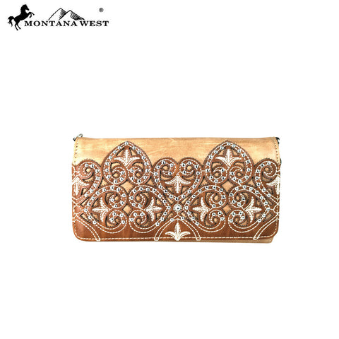MW669-C018 Montana West Embroidered Collection Wallet/Crossbody