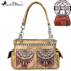 MW675G-8085 Montana West Embroidered Collection Concealed Carry Satchel