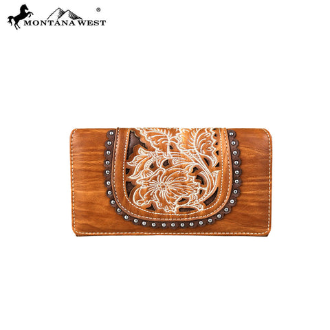 MW676-W010 Montana West Embroidered Collection Secretary Style Wallet