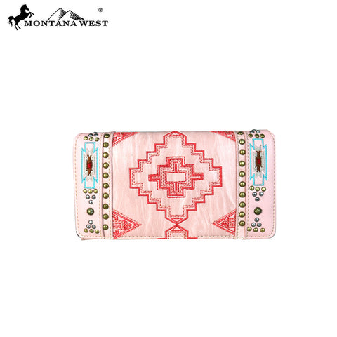 MW682-W010 Montana West Aztec Collection Secretary Style Wallet