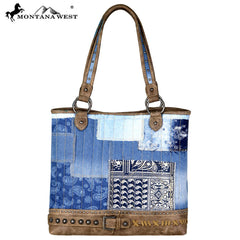 MW695-8317 Montana West Denim/Buckle Collection Tote