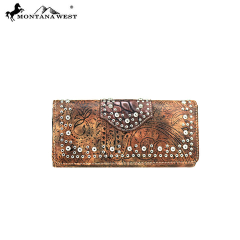 MW699-W002 Montana West Tooled Collection Wallet