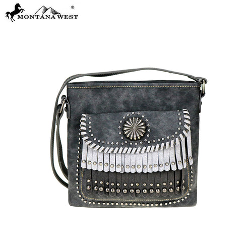 MW708-8360 Montana West Concho/Fringe Collection Messenger Bag