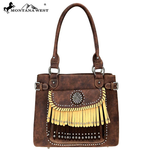 MW708D-8307 Montana West Concho/Fringe Collection Tote Bag