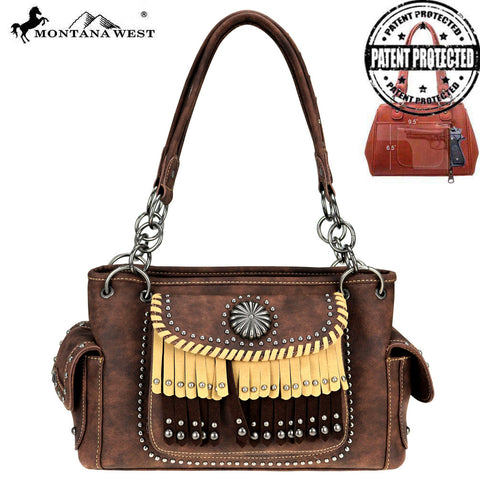 MW708G-8085 Montana West Concho/Fringe Collection Concealed Carry Satchel Bag