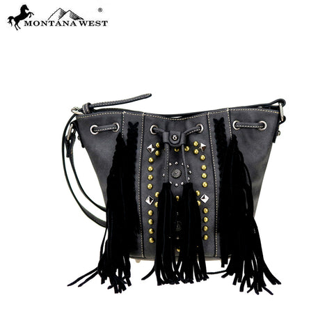 MW717-8111 Montana West Fringe Collection Drawstring Crossbody