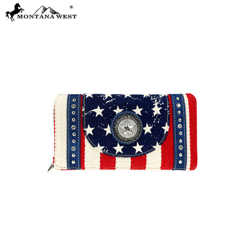 MW730-W010  Montana West Patriotic Collection Secretary Style Wallet