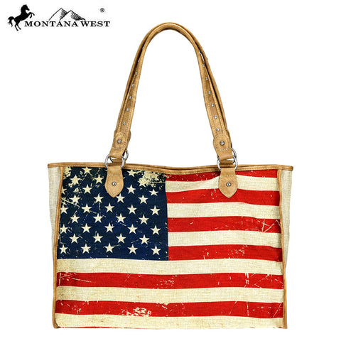 MW735-8112 Montana West American Flag Painting Canvas Tote Bag