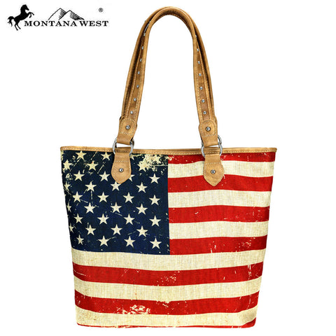 MW735-9318 Montana West American Flag Painting Canvas Tote Bag