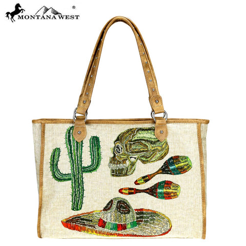 MW736-8112 Montana West Cinco Collection Canvas Tote Bag