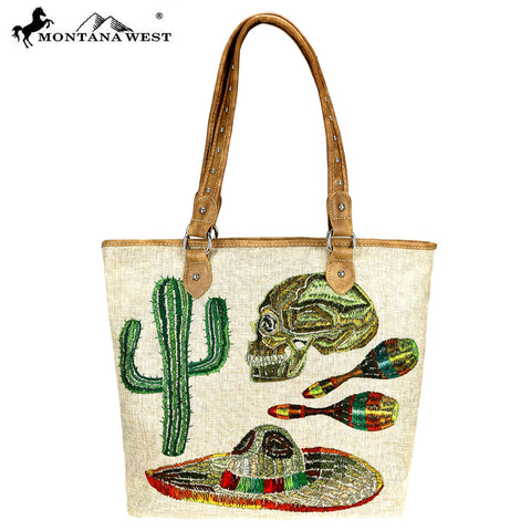 MW736-9318 Montana West Cinco De Mayo Collection Canvas Tote Bag