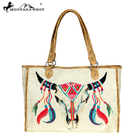 MW737-8112 Montana West Native American Collection Canvas Tote Bag